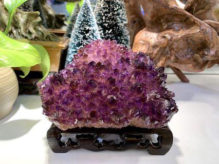 稀有紫晶簇共生礦紫黃晶 連木座