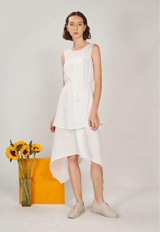 Genue Lina Layered Dress White