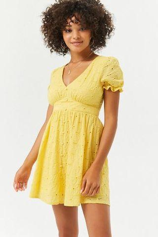 Forever 21 - Yellow Cotton Eyelet Lace Dress