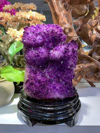 烏拉圭紫晶簇 連木座