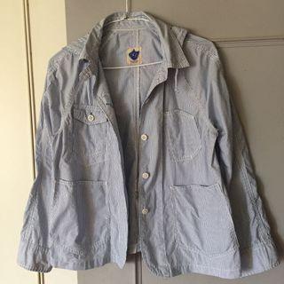 🚚 日本品牌pou dou dou夏春薄外套,連帽,漂浪水藍條紋。M。帽子可拆棉100%