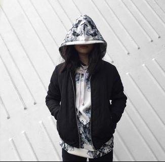 Floral hoodie/black bomber jacket