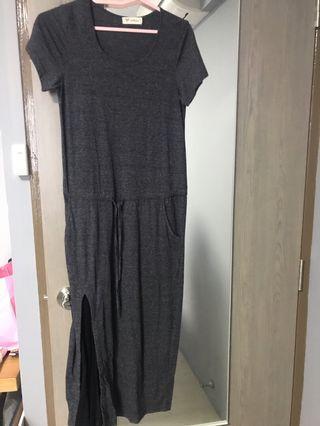 Cotton midi pleated dress