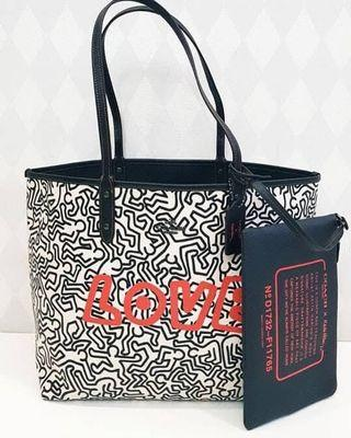 Coach x keith haring reversable tote bag