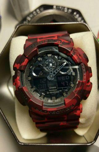 Gshock G100 Red Camouflage