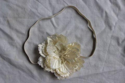 Faux cream shimmery floral headband