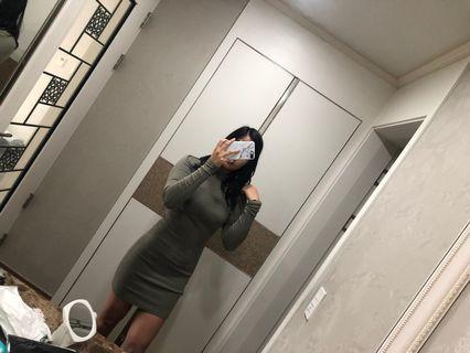 Khaki long sleeve dress bodycon kstyle
