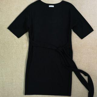 Made in Korea Monologue Black Cotton Tie Waist Dress in One Size
