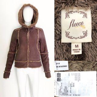 Uniqlo shearling fleece coat / jacket (brown) jaket bulu