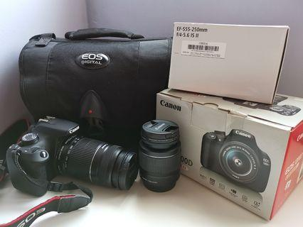 Canon Eos 1200d with 2 lenses.