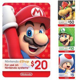 🚚 Nintendo eshop credits 20 USD Gift Card