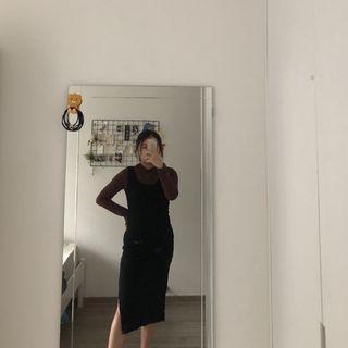 Black Midi Slip Dress