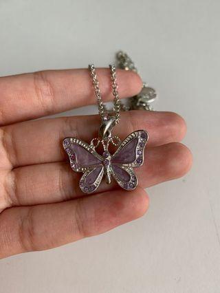 🚚 cute purple butterfly necklace