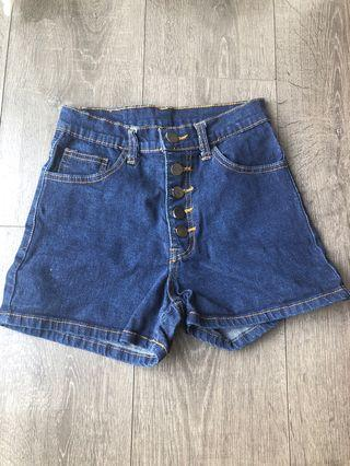 5 buttons high waisted shorts