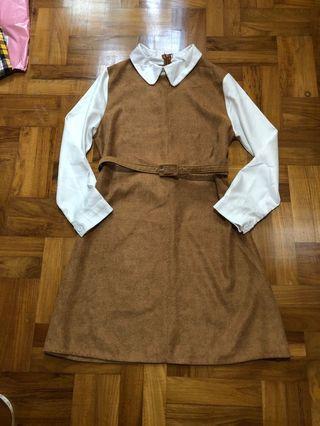 Brown Fake 2 Piece Work Dress