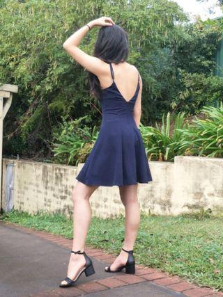 Navy Princess Seam Skater Dress