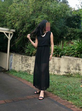Black Maxi Dress with High Neckline