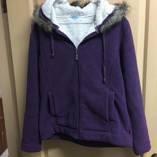 ♻️[二手] 內刷毛 紫色毛料外套 有帽子(兒童sizeXL)