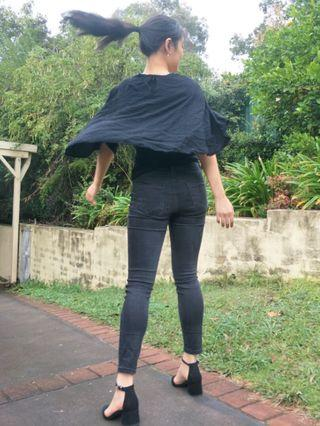 Black Cape Blouse