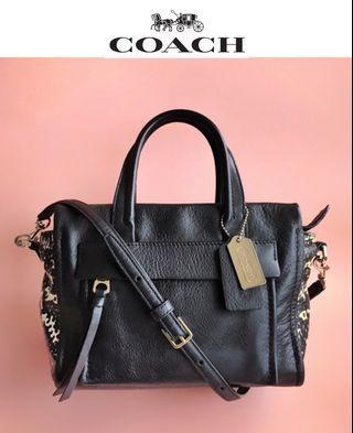 正版85%新 Coach F27987 真皮 黑色 花紋邊 手袋