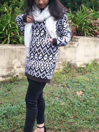 Graphic Black and White Aztec Sweater Tunic