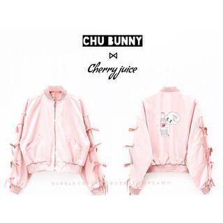🚚 Estherlovesyou聯名款粉色蝴蝶結綁帶飛行外套