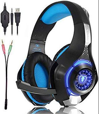 [HG370] Beexcellent Gaming Headset GM-1 with Microphone for New Xbox 1 PS4 PC Cellphone Laptops Computer - Surround Sound, Noise Reduction Game Earphone-Easy Volume Control with LED Lighting 3.5MM Jack(Blue)