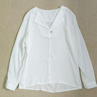 Taiwan White V Neck Collar Chiffon Basic Top