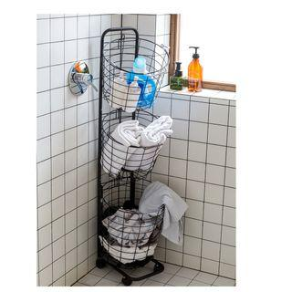 🚚 Movable portable Clothing Storage organizers 3 removable baskets with roller