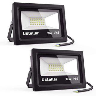 [HG228] Ustellar 2 Pack LED Floodlight 30W, IP66 Waterproof Outside Flood Lights Outdoor Security Lights, 150W Halogen Bulb Equivalent, 2400lm, 5000K Daylight White Floodlights for Garden [Energy Class A+]