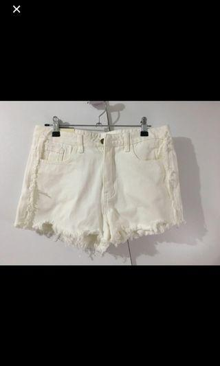 NEW White Cream Denim shorts ripped
