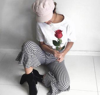 Checkered Cropped Flare Pants
