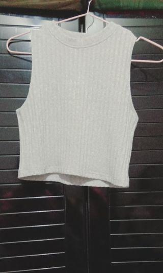 🚚 Grey Knitted Crop Top