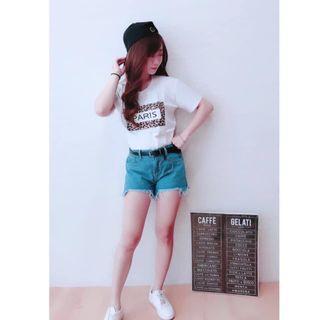 🚚 字母豹紋T-shirt 白色