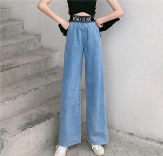 韓國系七分闊腳牛仔褲洗水 夏日ins潮款 women jeans