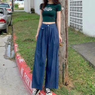 韓國系七分闊腳牛仔褲原色 夏日ins潮款 women jeans