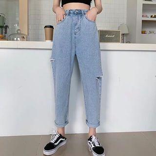 韓國系九分修腿牛仔褲洗水 夏日ins潮款 women jeans