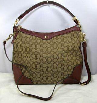 Coach Women's Ivie Hobo Signature Jacquard Smooth Leather Crossbody-KHAKI/WINE