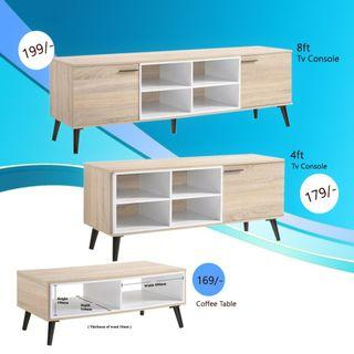Neylar TV Console 6ft/4ft/coffee table