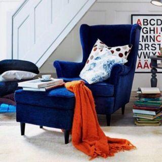 IKEA Strandmon wingchair royal blue velvet with stool