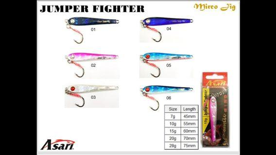 (Again & On The Way In-Place with Offers Price.!!)The Asari Micro Jigs.= 1).JUMPER FIGHTER(Size: 7-28g).  2).UGLY FIGHTER(Size: 28-60g).  3).BIG FIGHTER(Size: 7-40g).= Just @S$2.30-3.20/-.!!!