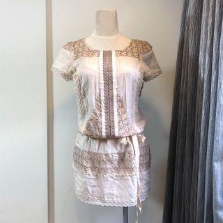 BCBG Max Azria 棉麻花朵清新氣質感連身裙