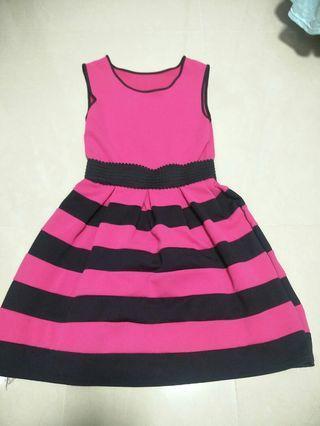 Striped hot pink dress