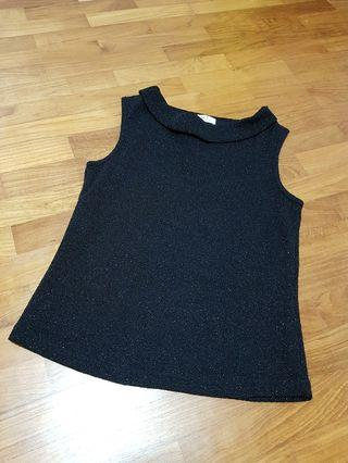 Black Glittery Sleeveless Top with Soft Inner Lining