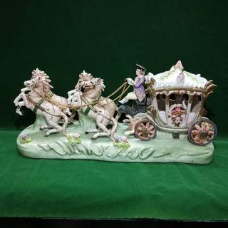 Japanese Vintage Porcelain Horse Carriage