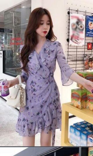 正韓V領綁帶紫碎花洋裝