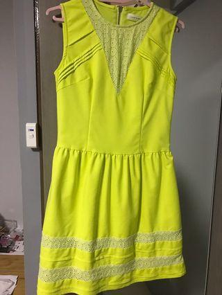 🚚 Love and bravery bright yellow eyelet dress