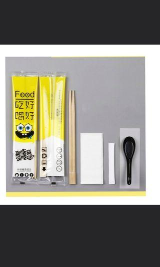 🚚 Disposal chopstick n spoon set