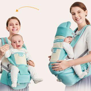 Baby Backpack Carrier with Hip Seat with storage–  Adjustable Waistband – Comfortable Baby Carriers for Newborn, Infant, & Toddler
