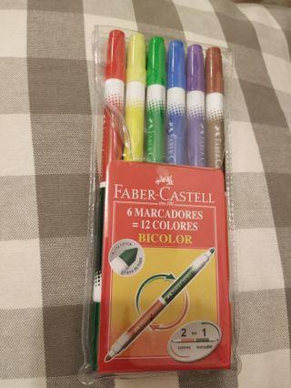 12色水筆 Faber-Castell 6 Marcadores=12 Colours Bicolor
